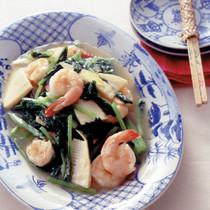 小松菜とえびの塩炒め