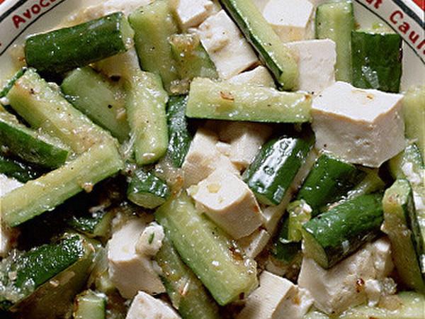 きゅうりと豆腐のしょうが風味炒め