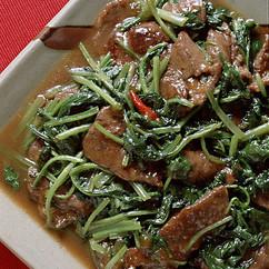 小松菜と牛肉のしょうゆ炒め