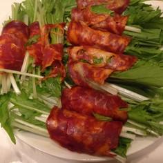 超簡単3分♫水菜チョリソー巻き