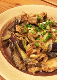 豚コマと茄子と長ネギの胡麻味噌炒め♪