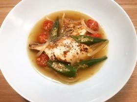 夏風邪☆オクラとトマトと鱈のスープ仕立て