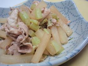 すし酢使って!大根と豚肉の炒め物