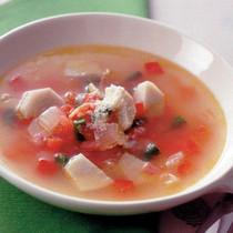 里いもとベーコンのトマトスープ
