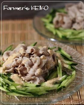 冷た~いきゅうりと豚肉の味噌マヨがけ