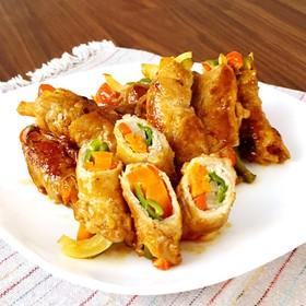 彩野菜の簡単肉巻き☆スティック酢豚