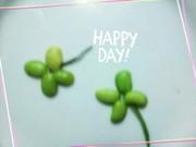 キャラ弁に枝豆よつ葉のクローバー☘の写真