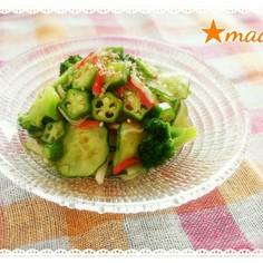 緑野菜の梅酢和え