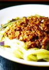 ピリ辛★肉味噌で。なすのジャージャー麺風
