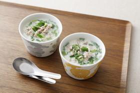 ニラとひき肉の豆乳スープ