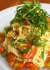 簡単麺を和えるだけ♪トマトと大葉の冷製麺