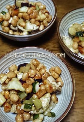 茄子ときゅうりの夏野菜と大豆の甘辛