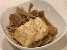 甘辛ニンニク効いた、豚バラ舞茸の肉豆腐!