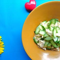 レンチン鶏ハムとキューリの和え物