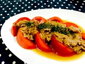 トマトとツナと玉ねぎのワサビソース和え