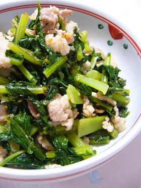 大根葉と豚肉の炒め煮:レオン亭