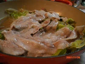 ルクルーゼで豚とキャベツの蒸し物☆味噌風