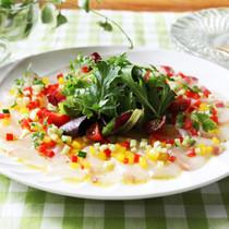 白身魚の野菜たっぷりカルパッチョ