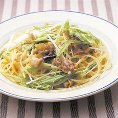 豚バラと水菜のペペロンチーノ