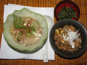 冬瓜のスープがある夕食