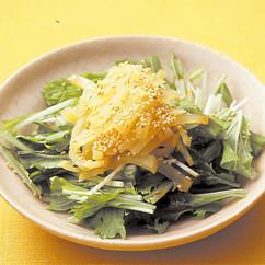 水菜とたくあんのサラダ