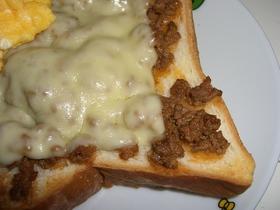 朝食に!ミート&チーズトースト