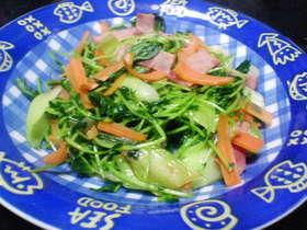 豆苗と青梗菜の炒め物