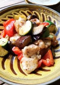 こくうま♪鶏肉と夏野菜のマヨポン炒め