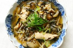 ランチ♪鶏ささみ ひじき玄米の和風スープ