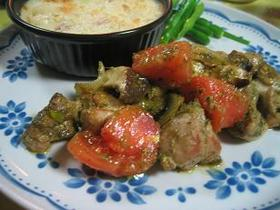 鶏肉とトマトのバジル炒め