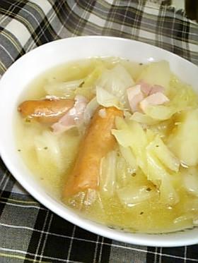 ザクザクキャベツのあったかハーブスープ