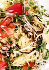 麺つゆでトマトとツナと塩昆布の冷製パスタ
