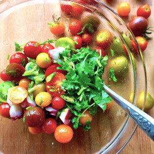 ミニトマトとパクチーのセビーチェ