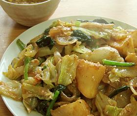 蕪のクルミ味噌炒め