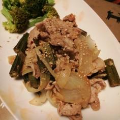 豚肉と玉ねぎの塩レモン+にんにく炒め