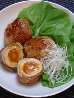 半熟煮卵の豚肉巻き
