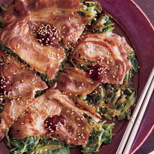 豆苗と豚肉のチヂミ