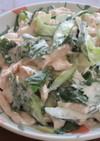 鶏胸肉と胡瓜と青じそのヨーグルトサラダ