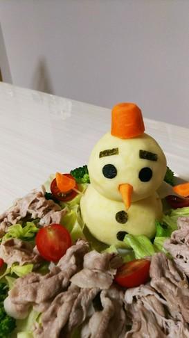 ポテトサラダで雪だるま~☺️