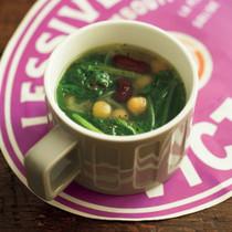 ミックスビーンズとホウレンソウのスープ