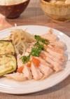 時短簡単♪レンジ蒸し鶏と温野菜の梅肉ダレ