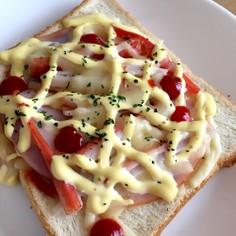 簡単ボリューミー!ハムかにかまチーズパン