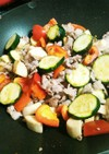 簡単♪夏野菜とラム肉薄切りのクレソル炒め