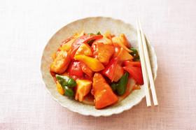 サケと彩り野菜の甘酢あんかけ