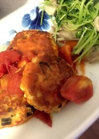 豆腐と鶏挽き肉の煮込みハンバーグ