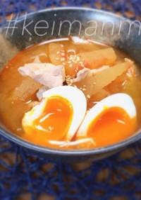 スイカの皮のキムチスープ/半熟卵のせ/