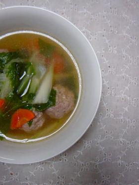 セロリと肉団子のスープ