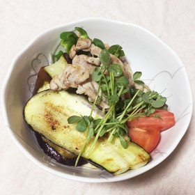 ナスと豚肉と水菜のさっぱりポン酢