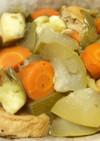 がんもどき、冬瓜、人参、茄子の煮物