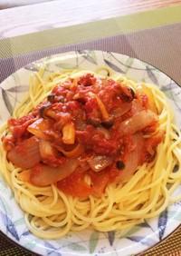 ツナと玉ねぎのトマトスパゲティ